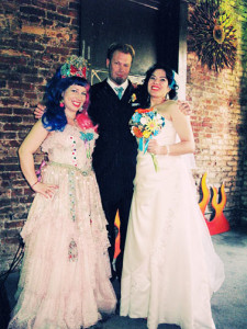 On the left as Officiant Queen Skittles at Kerri & Richard
